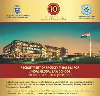 Recruitment of faculty Members for Jindal Global Law School, Sonipat, Delhi NCR, India