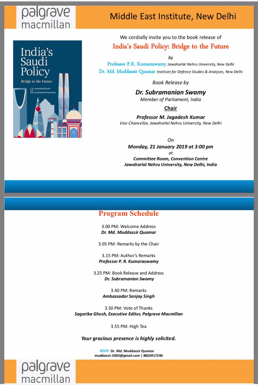 Book Release- India's Saudi Policy: Bridge to the Future